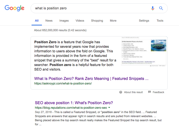 example of postion zero