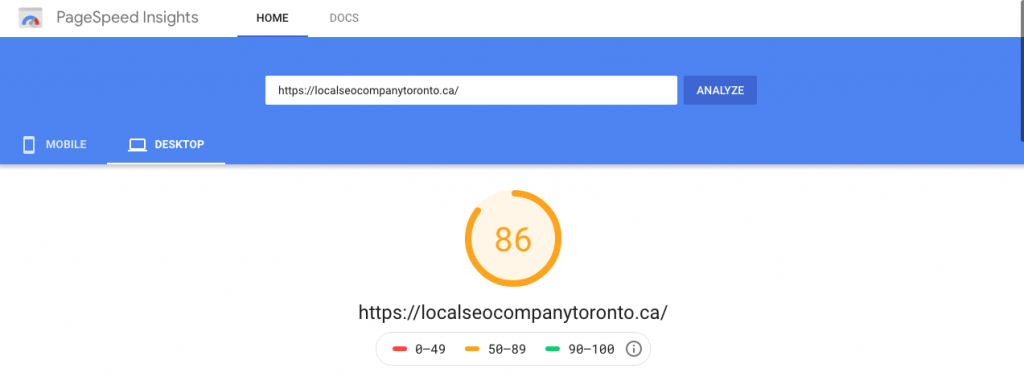 Page speed score displayed on Google pagespeed insights