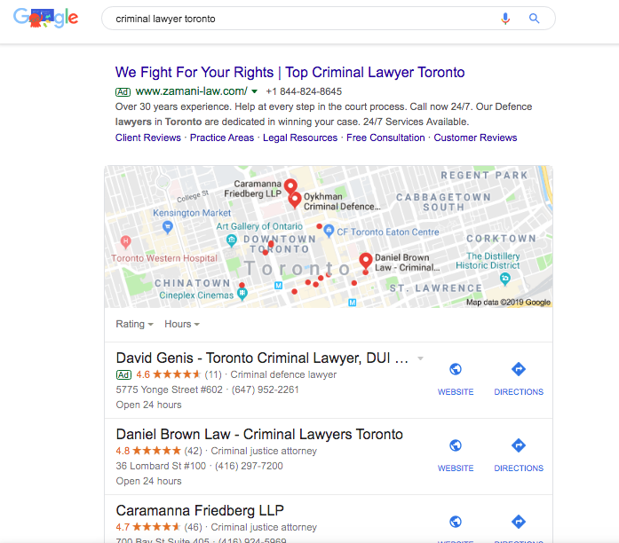 "An example of the local pack for the keyword ""criminal lawyer"" as an example of local SEO in Toronto"