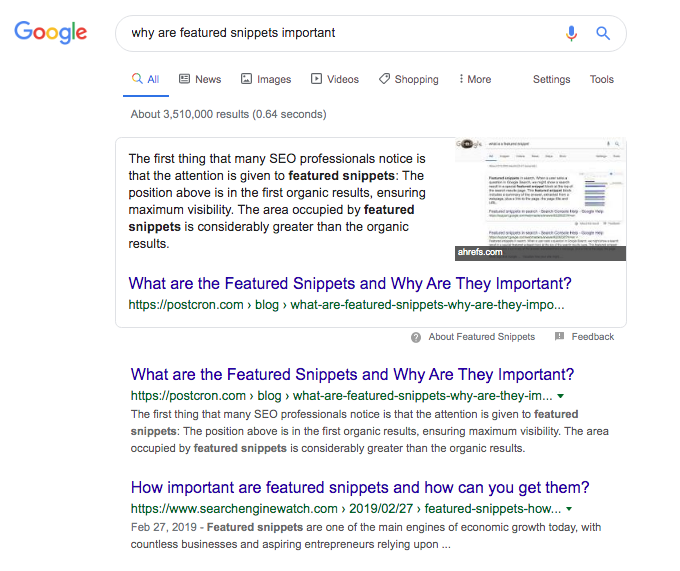 "An example of a featured snippet appearing for the query "" why are featured snippets important?"""