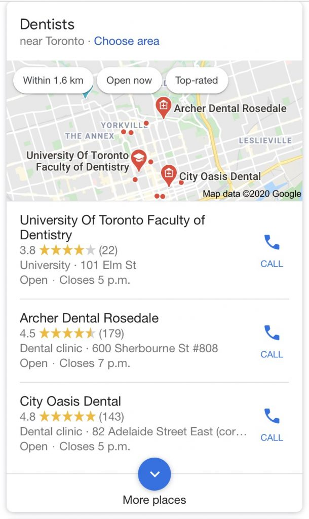 Local pack is even more prominent on mobile devices making local SEO in Toronto more important