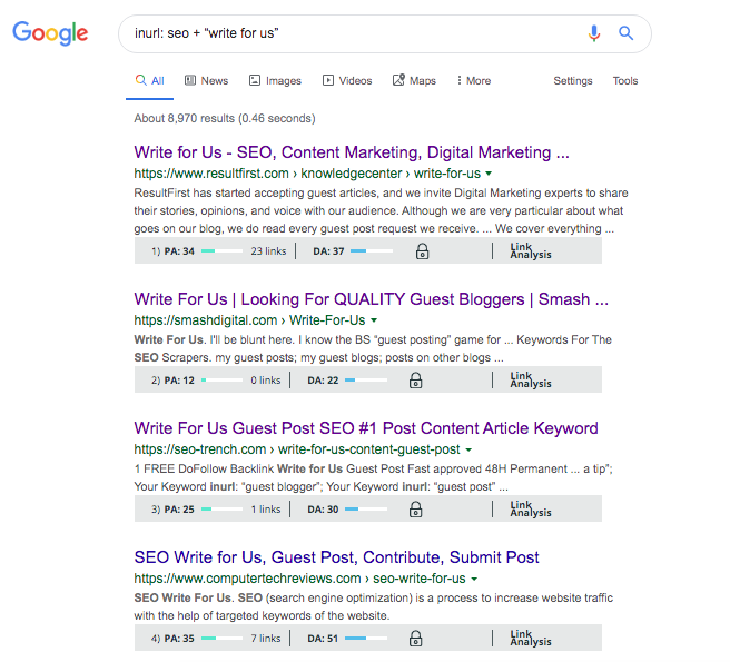 Guest post sites from a Google search