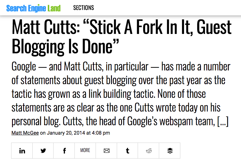 Matt Cutts quoted predicting the death of guest blogging in 2014