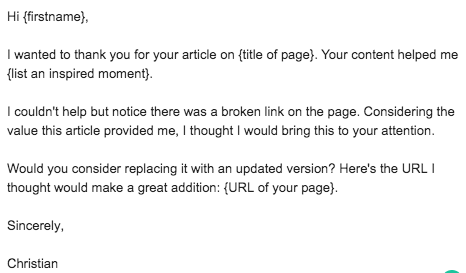 Broken link building outreach email