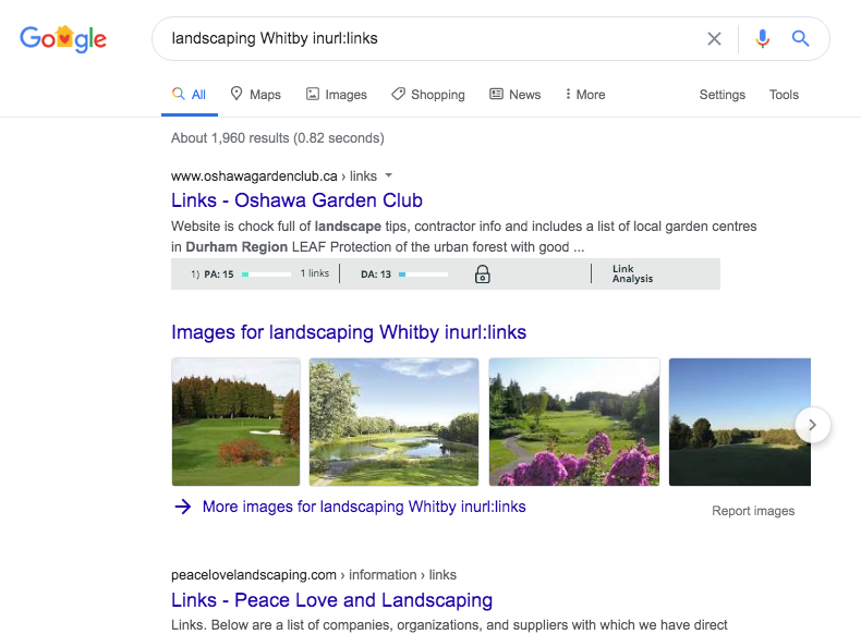 Resources page link building example of a Whitby local seo strategy