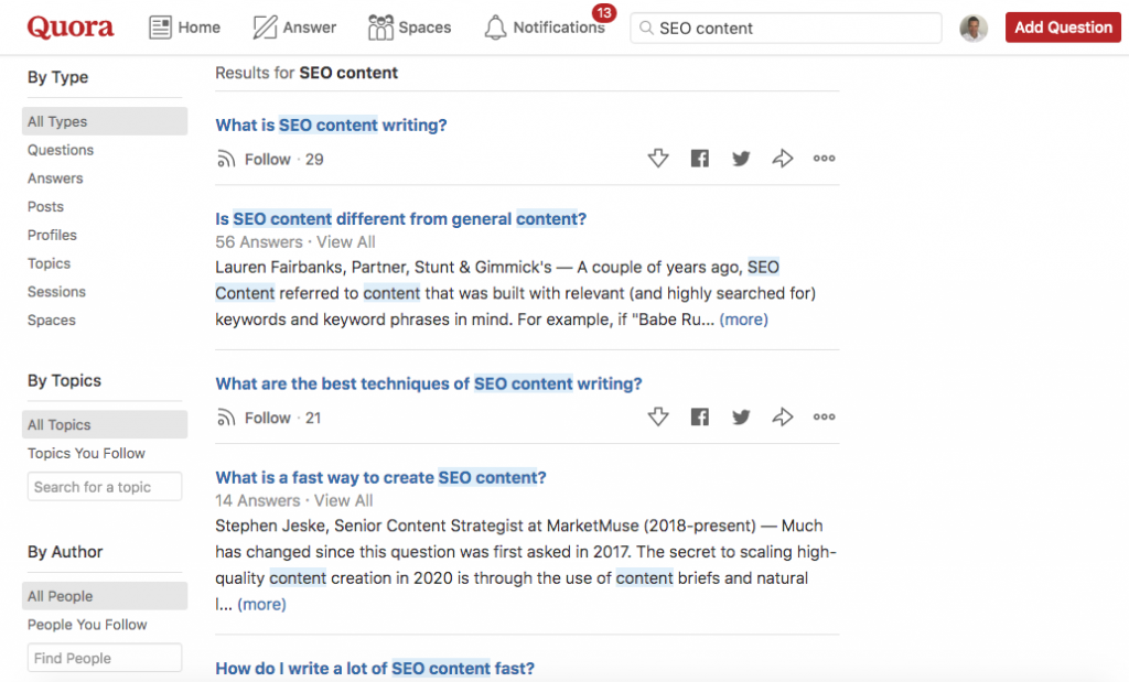 Research your audience on Quora to write an SEO optimized blog post