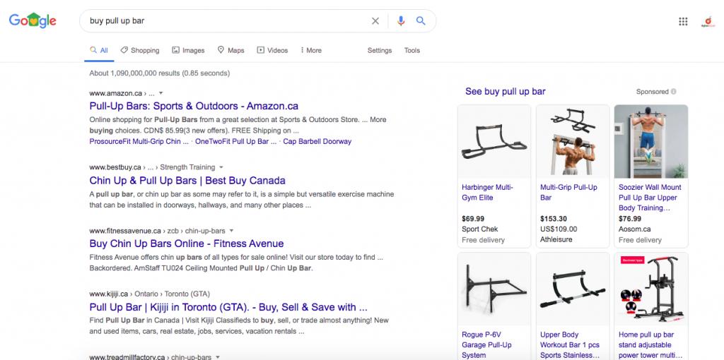 Transactional keyword search result display