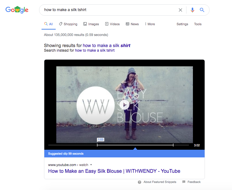 "Video wins the featured snippet for keyword ""how to make a silk t-shirt"""