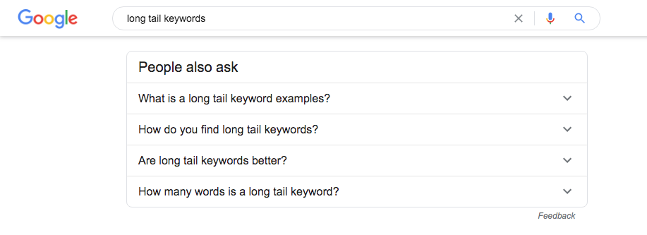 Include the People Also Ask box in your keyword research because it holds many clues for keyword options