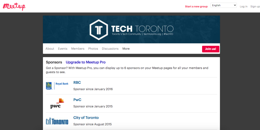 This Toronto Meetup group has sponsors that can use this material for local SEO content
