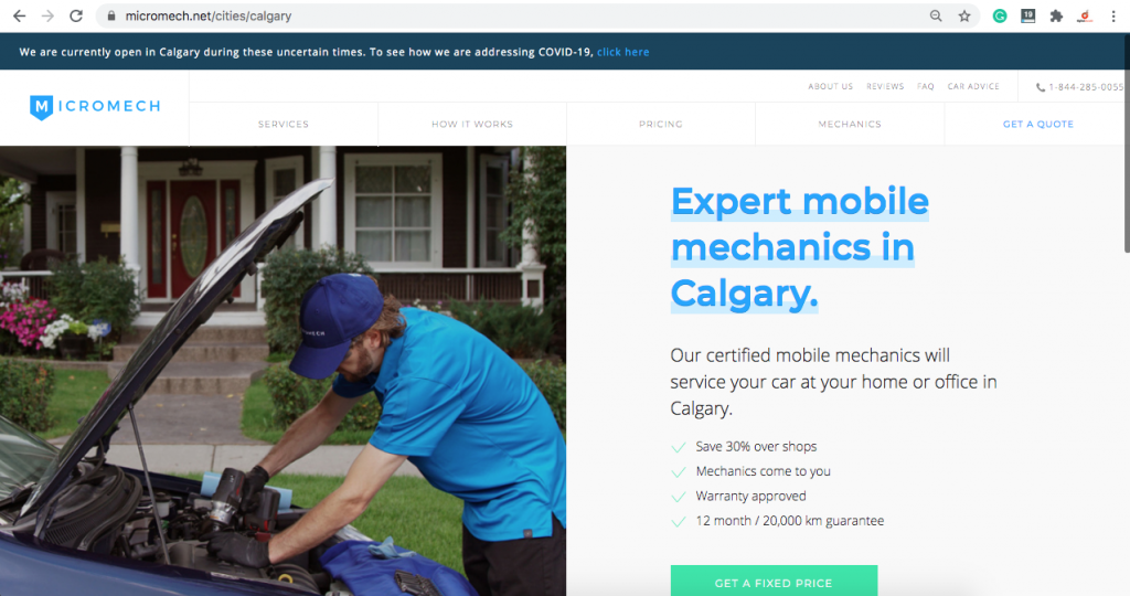 location page for calgary