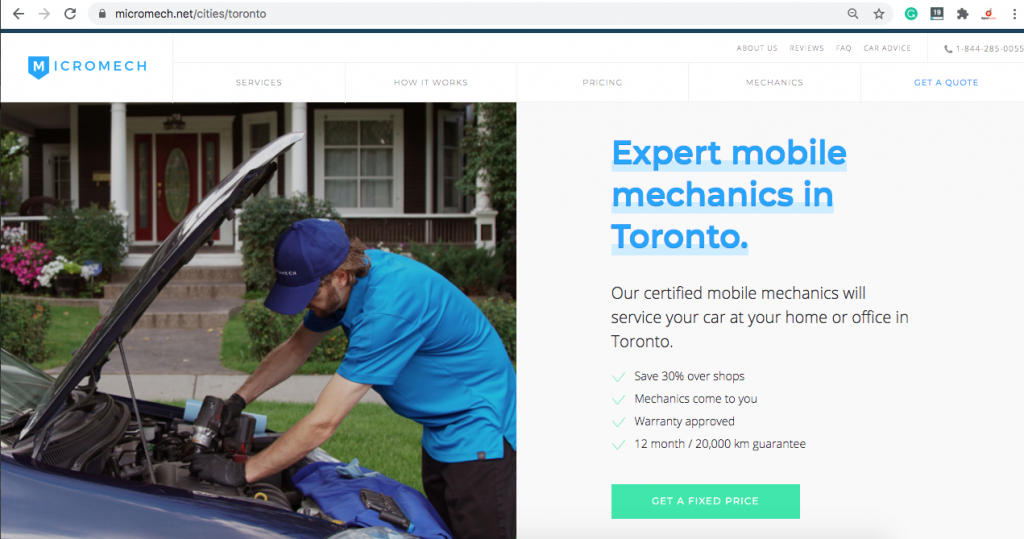 A location page for a mobile mechanic servicing Toronto
