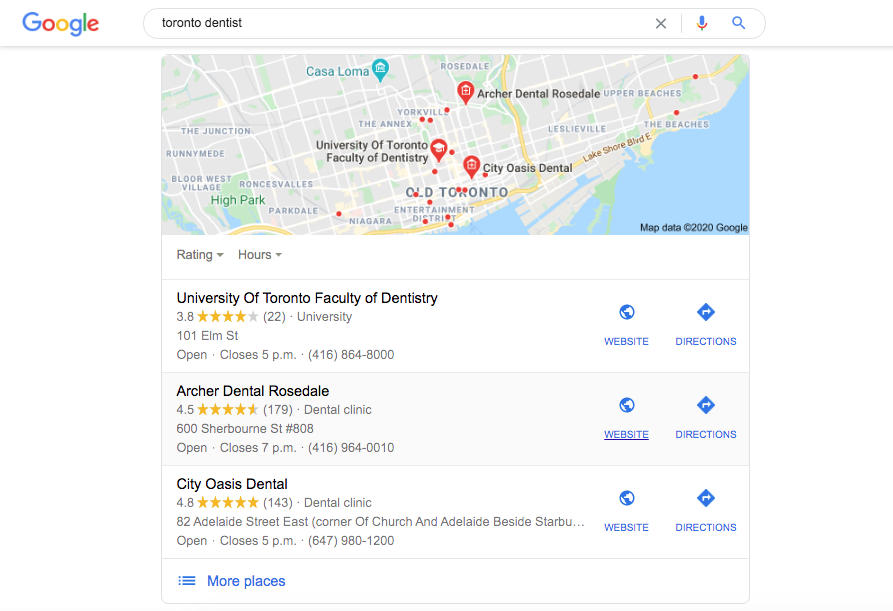 Appearing in the local pack is a major benefit of local SEO for Toronto dentists