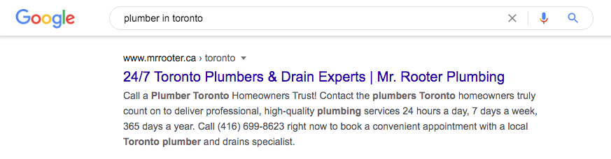 Location page for plumber in Toronto