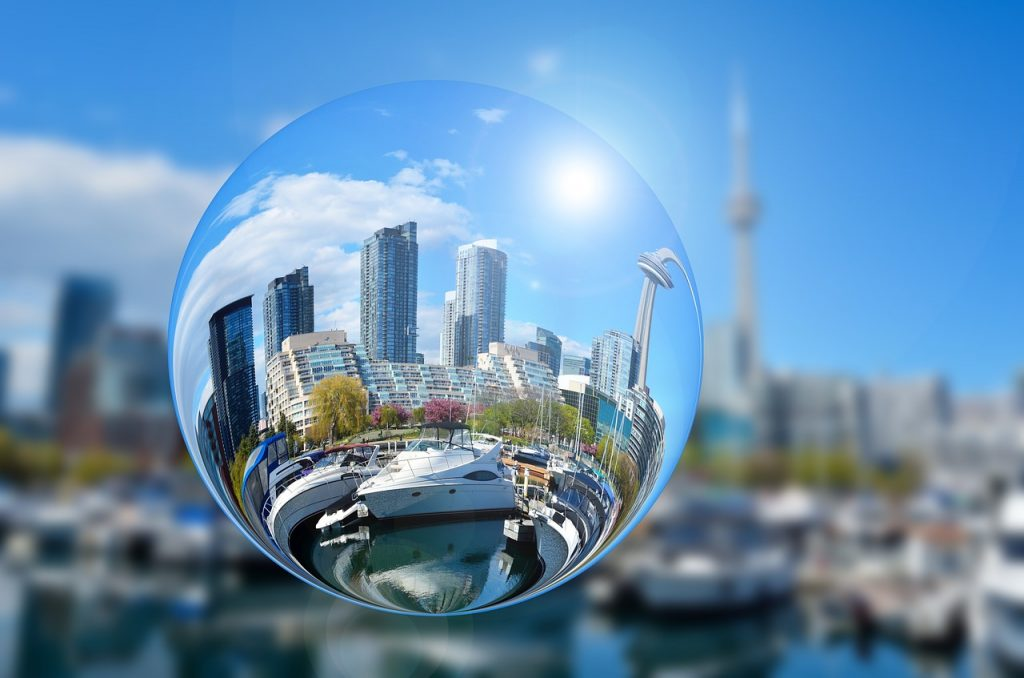 Image of Toronto skyline including the CN tower through a crystal globe
