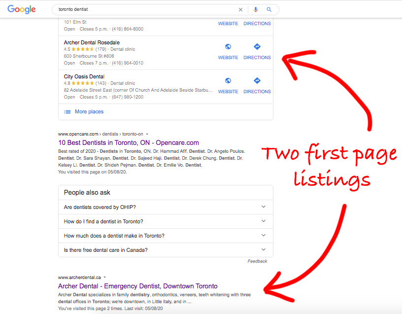 Toronto Local SEO gets results in the Local Finder as well as the localized organic search search results