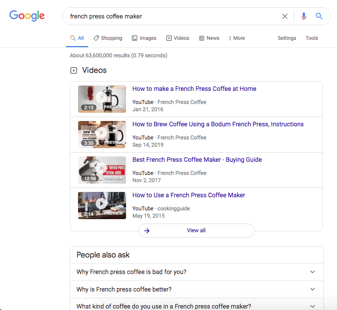 SEO basics indicate that when videos appear at the top of the SERP, including a video in your content will help satisfy search intent