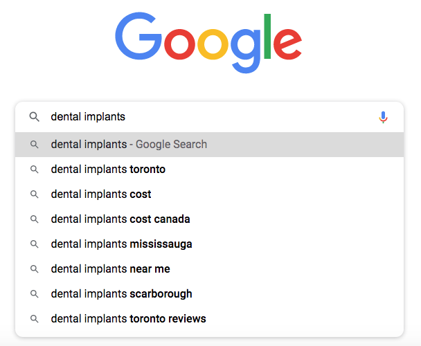 Google autosuggest for a dental implant keywords