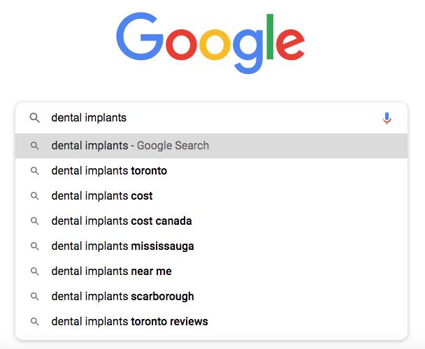 Google autosuggest for a dental implant keywords