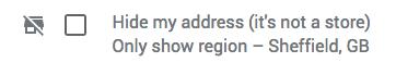Hide my address option on GMB