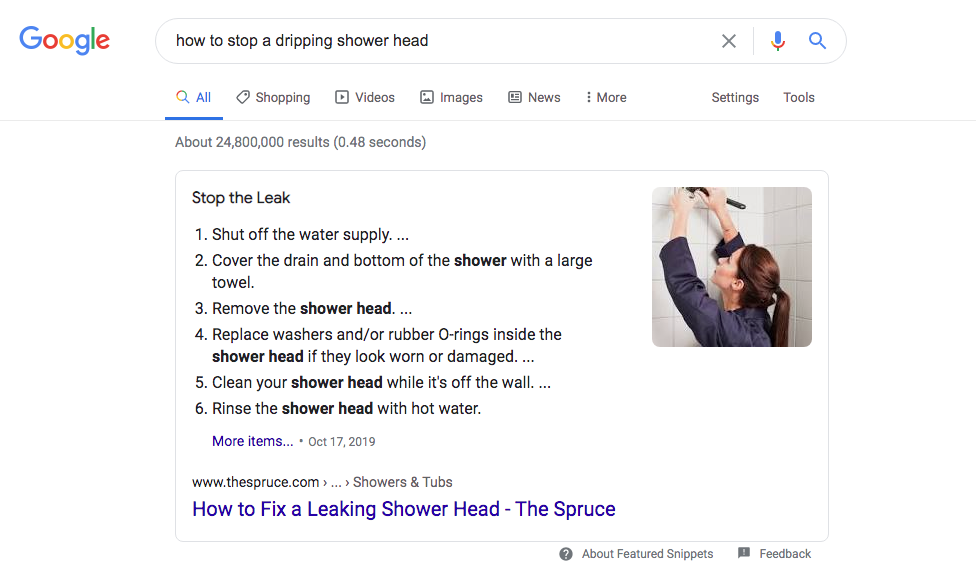 This featured snippet is the top feature on the SERP