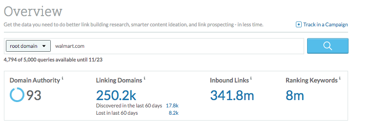 Image of Moz domain overview for Walmart showing high authority and thousands of backlinks.
