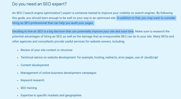 Google start up guide image recommending the hiring of professional SEOs (one of the SEO myths being busted on anyone can do SEO)