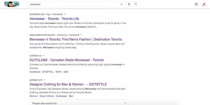"SERP for keyword ""menswear?"
