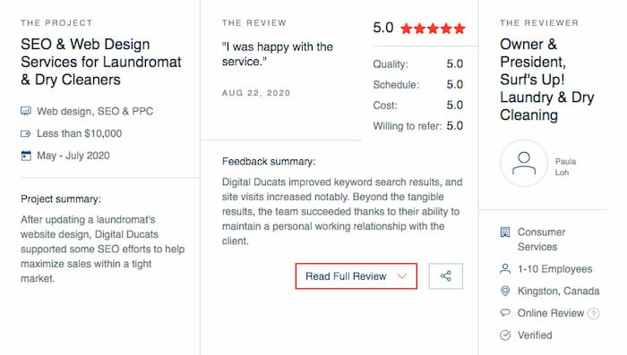 Clutch.co review on Digital Ducats Inc. as evidence of credibility as a good SEO company