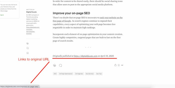 SEO myth that syndicate content gets you penalized is officially busted with this screenshot of an article on Medium giving attribution