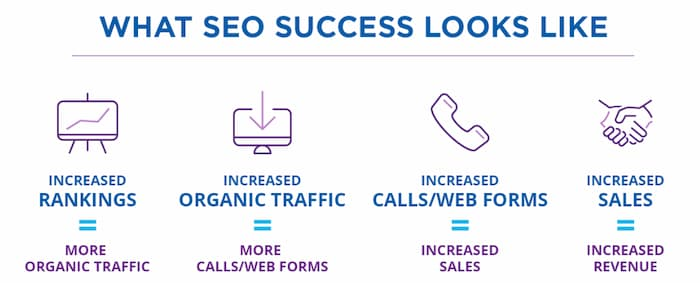 SEO success means increase in organic traffic, leads, sales and revenue